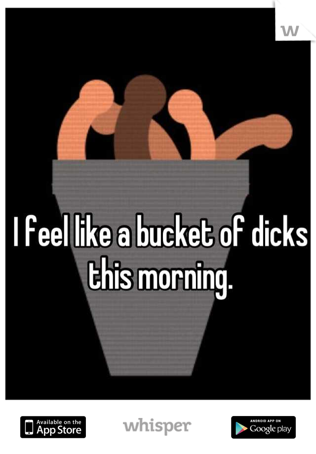 I feel like a bucket of dicks this morning.