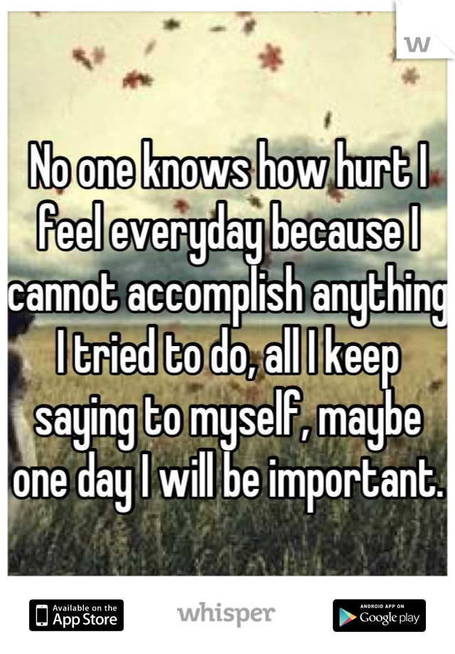 No one knows how hurt I feel everyday because I cannot accomplish anything I tried to do, all I keep saying to myself, maybe one day I will be important.
