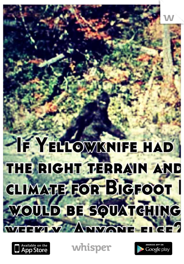 If Yellowknife had the right terrain and climate for Bigfoot I would be squatching weekly. Anyone else?
