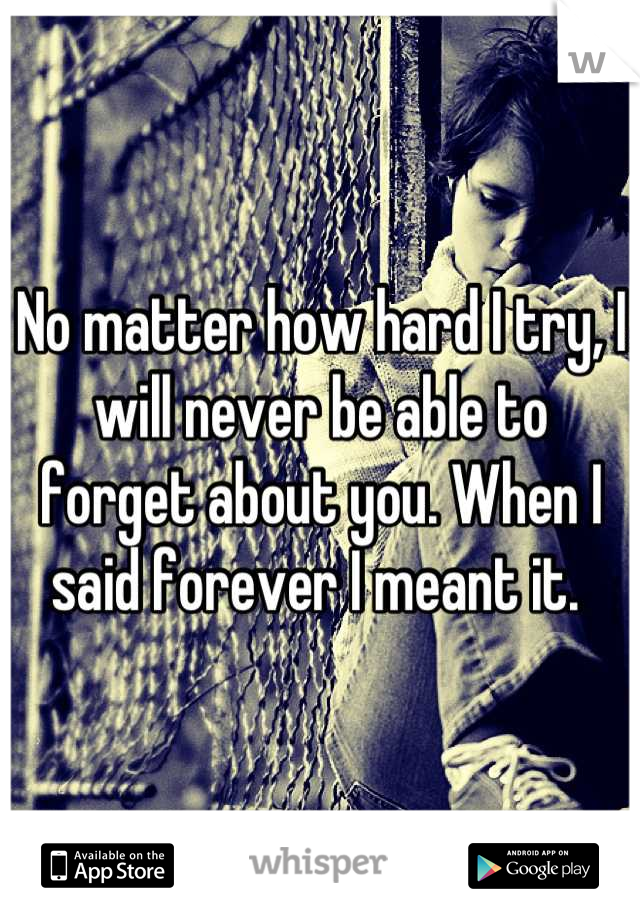 No matter how hard I try, I will never be able to forget about you. When I said forever I meant it.