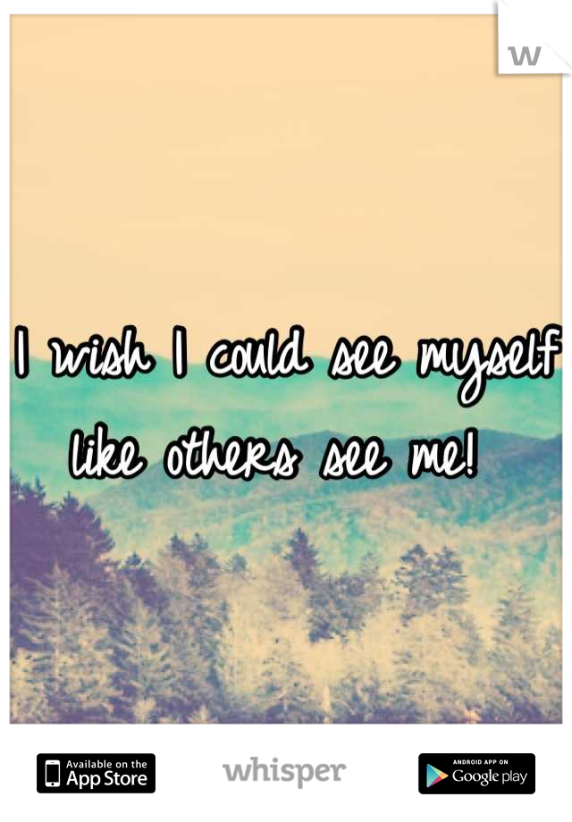 I wish I could see myself like others see me!