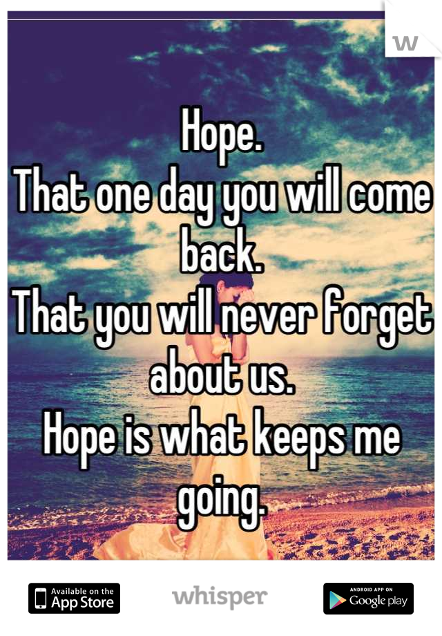 Hope.  That one day you will come back. That you will never forget about us. Hope is what keeps me going.