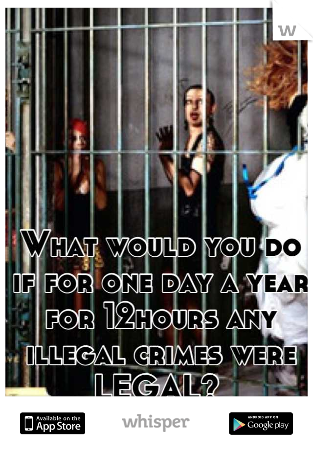 What would you do if for one day a year for 12hours any illegal crimes were LEGAL?