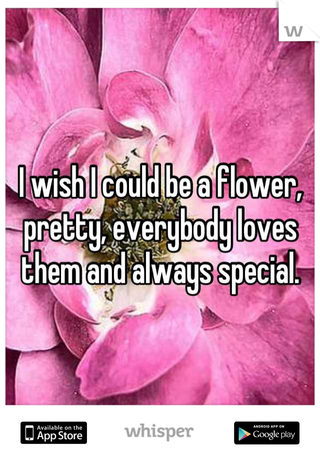 I wish I could be a flower, pretty, everybody loves them and always special.