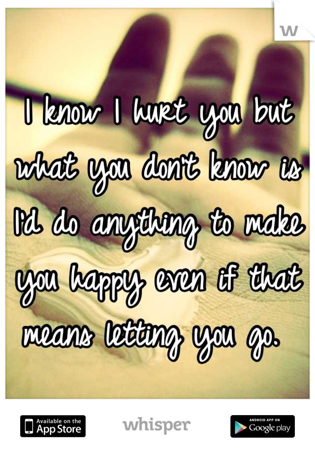 I know I hurt you but what you don't know is I'd do anything to make you happy even if that means letting you go.