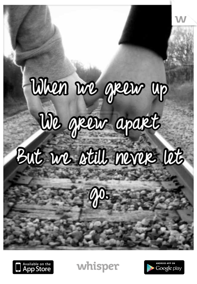 When we grew up  We grew apart But we still never let go.