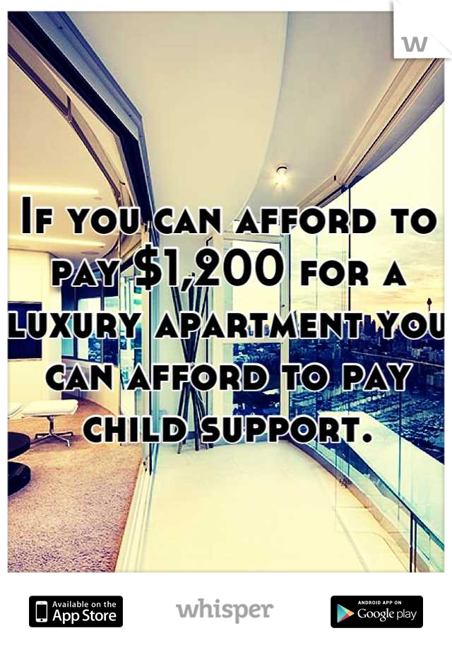 If you can afford to pay $1,200 for a luxury apartment you can afford to pay child support.