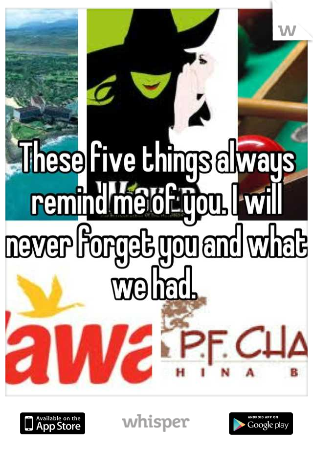 These five things always remind me of you. I will never forget you and what we had.