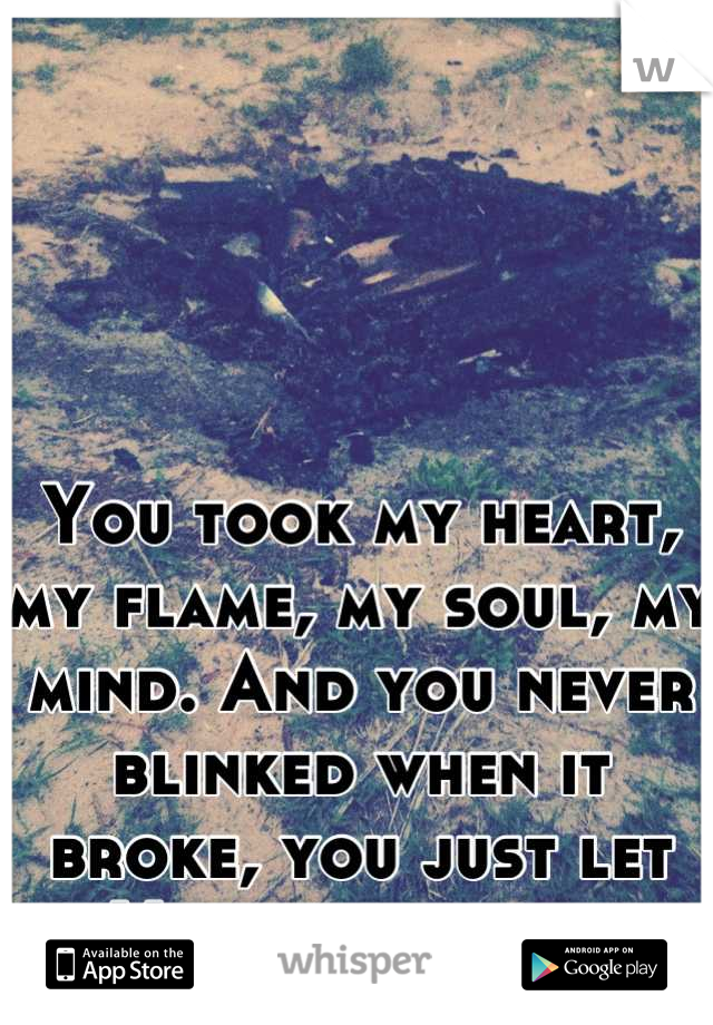 You took my heart, my flame, my soul, my mind. And you never blinked when it broke, you just let it. You let me suffer.