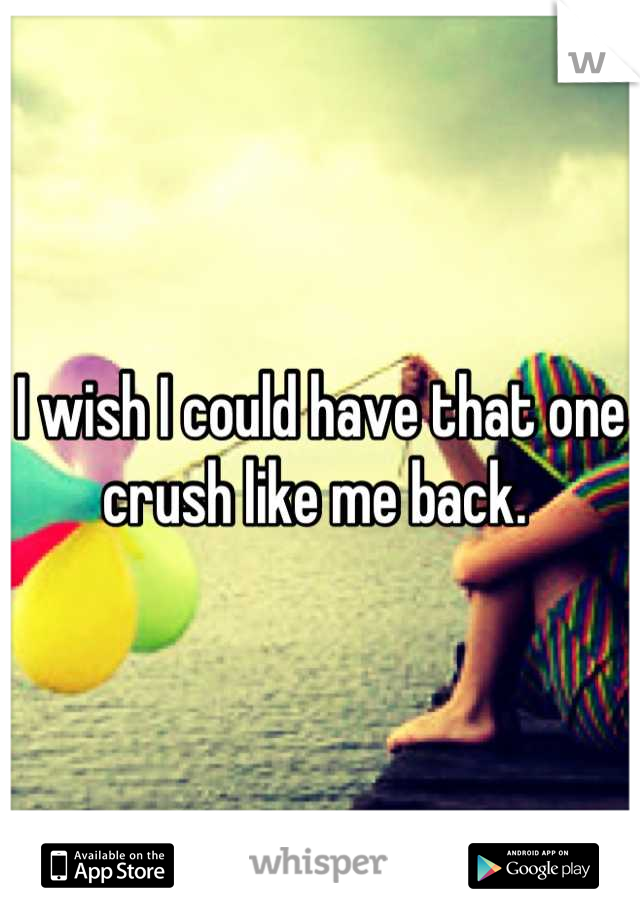 I wish I could have that one crush like me back.