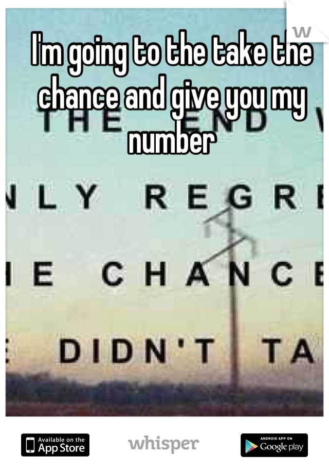 I'm going to the take the chance and give you my number