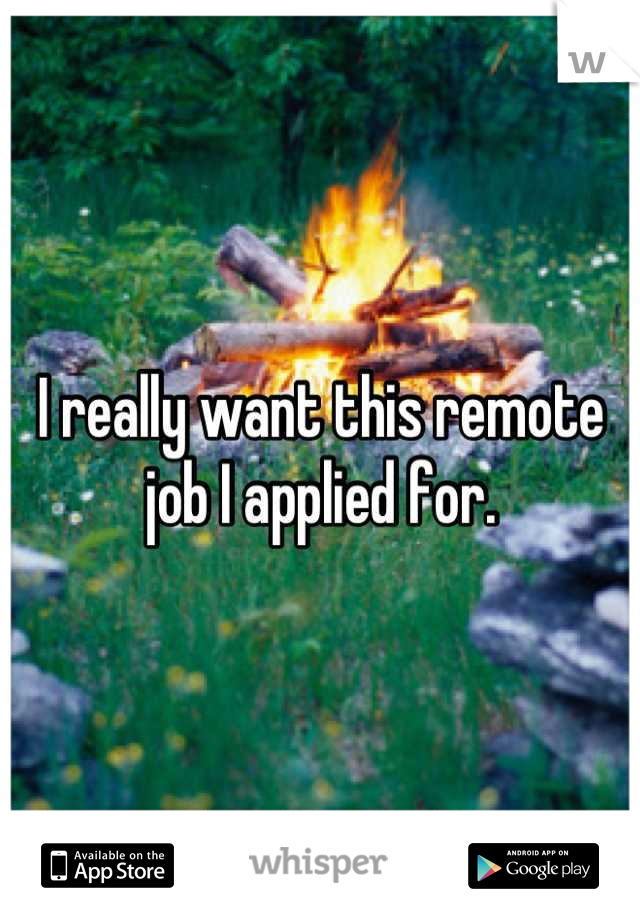 I really want this remote job I applied for.