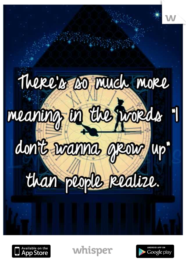"There's so much more meaning in the words ""I don't wanna grow up"" than people realize."
