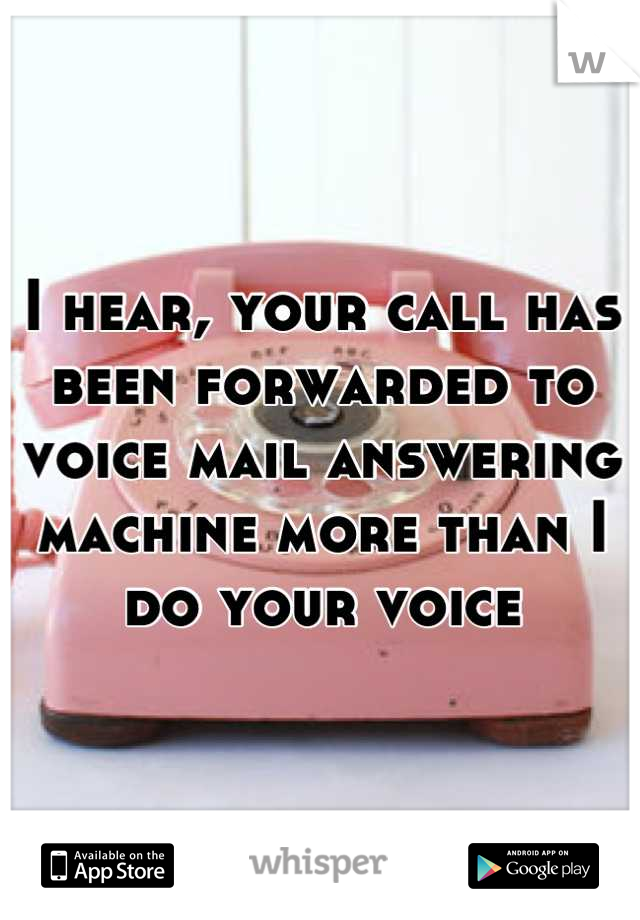 I hear, your call has been forwarded to voice mail answering machine more than I do your voice