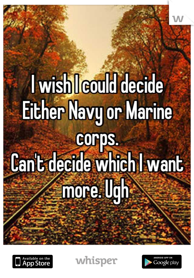 I wish I could decide Either Navy or Marine corps.  Can't decide which I want more. Ugh