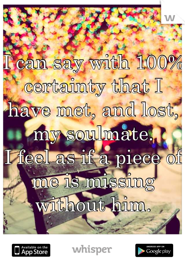 I can say with 100% certainty that I have met, and lost, my soulmate. I feel as if a piece of me is missing without him.