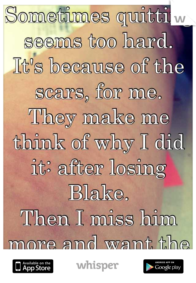 Sometimes quitting seems too hard. It's because of the scars, for me. They make me think of why I did it: after losing Blake. Then I miss him more and want the blade.