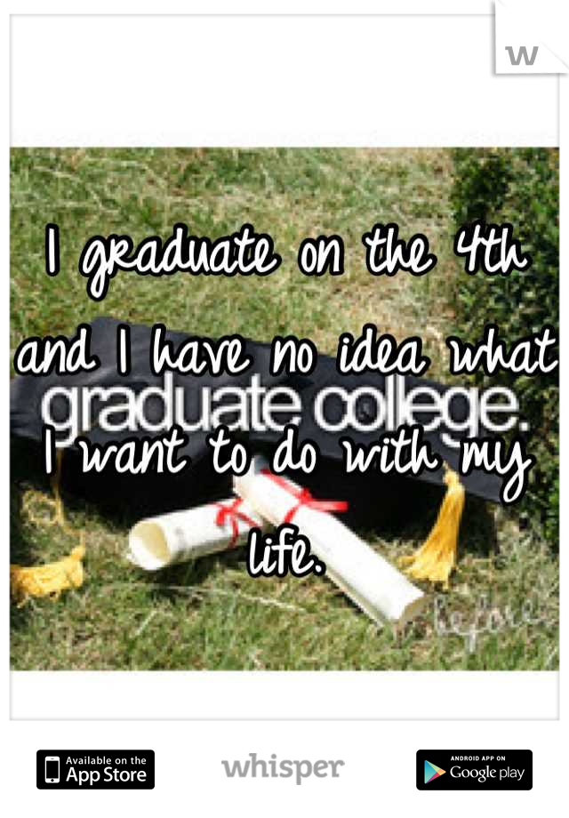 I graduate on the 4th and I have no idea what I want to do with my life.