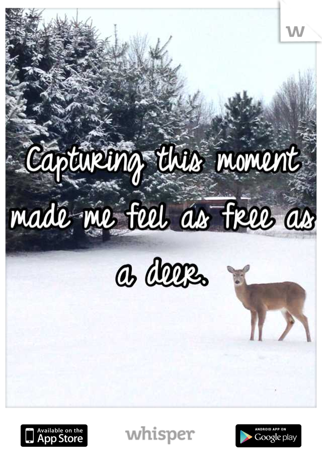 Capturing this moment made me feel as free as a deer.