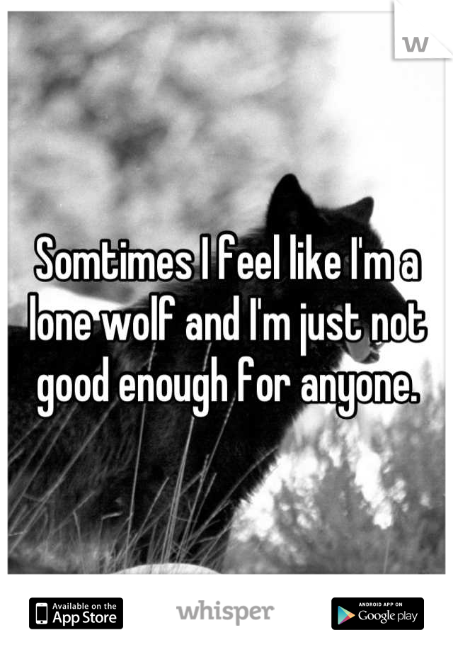Somtimes I feel like I'm a lone wolf and I'm just not good enough for anyone.
