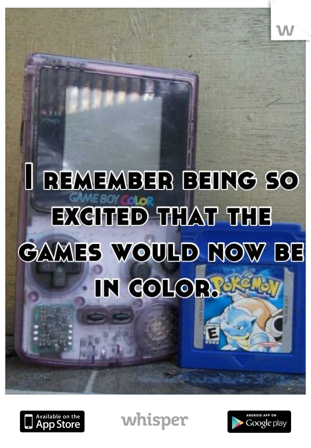 I remember being so excited that the games would now be in color.