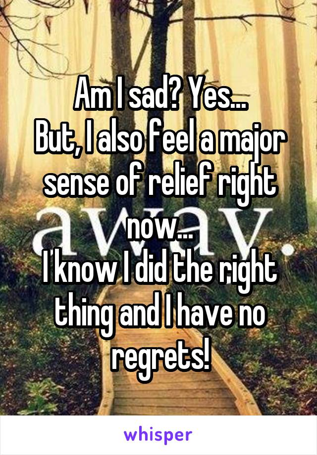 Am I sad? Yes... But, I also feel a major sense of relief right now... I know I did the right thing and I have no regrets!