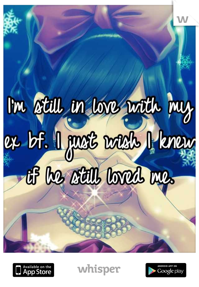 I'm still in love with my ex bf. I just wish I knew if he still loved me.