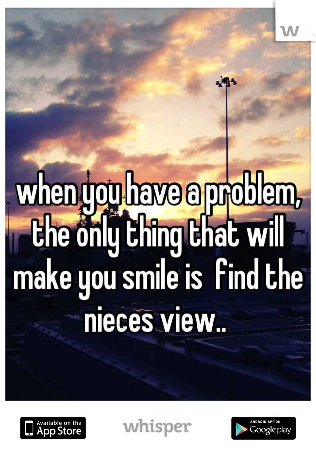 when you have a problem, the only thing that will make you smile is  find the nieces view..