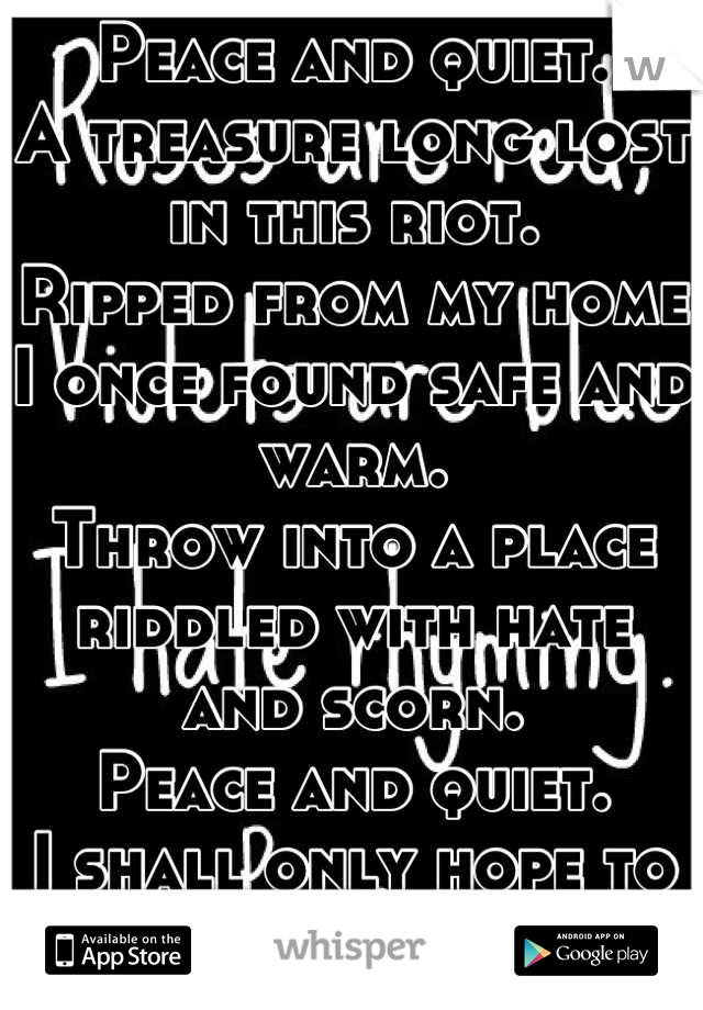 Peace and quiet.  A treasure long lost in this riot.  Ripped from my home I once found safe and warm.  Throw into a place riddled with hate and scorn.  Peace and quiet.  I shall only hope to find it.