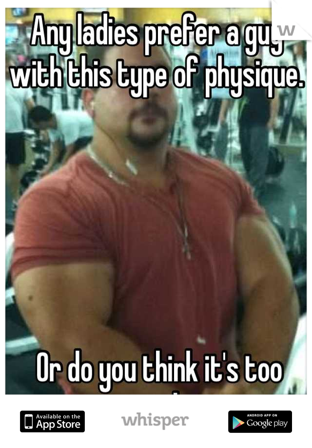 Any ladies prefer a guy with this type of physique.        Or do you think it's too much