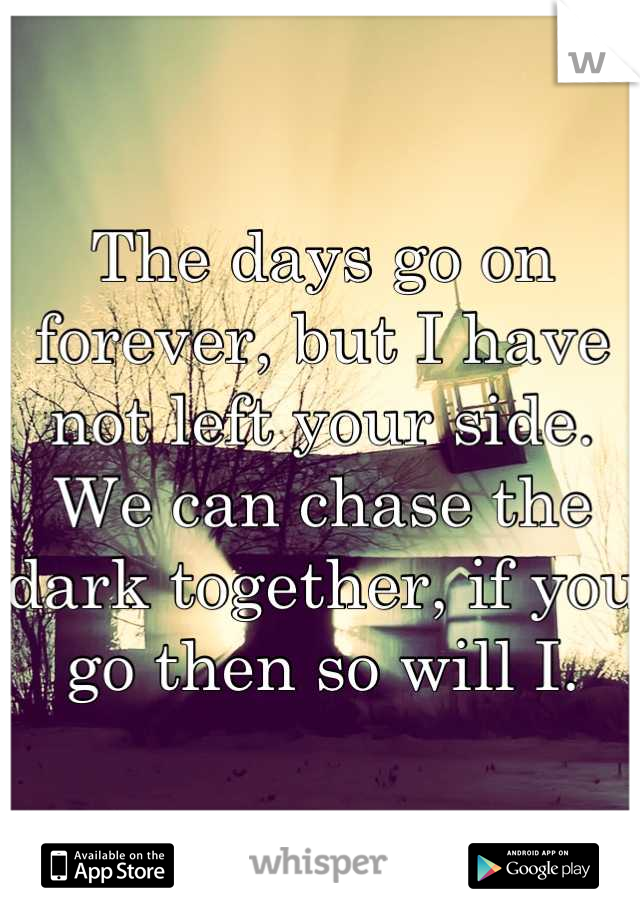The days go on forever, but I have not left your side. We can chase the dark together, if you go then so will I.