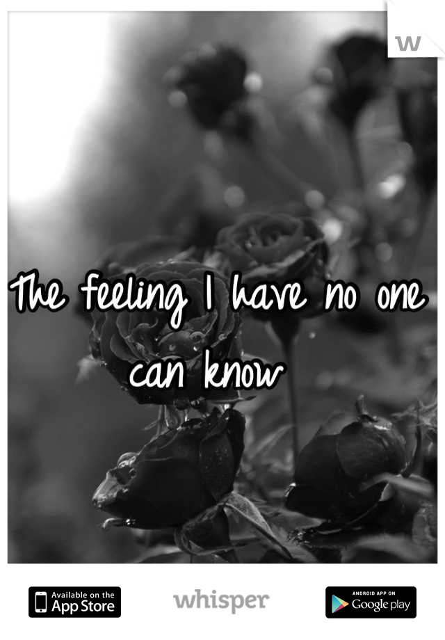 The feeling I have no one can know