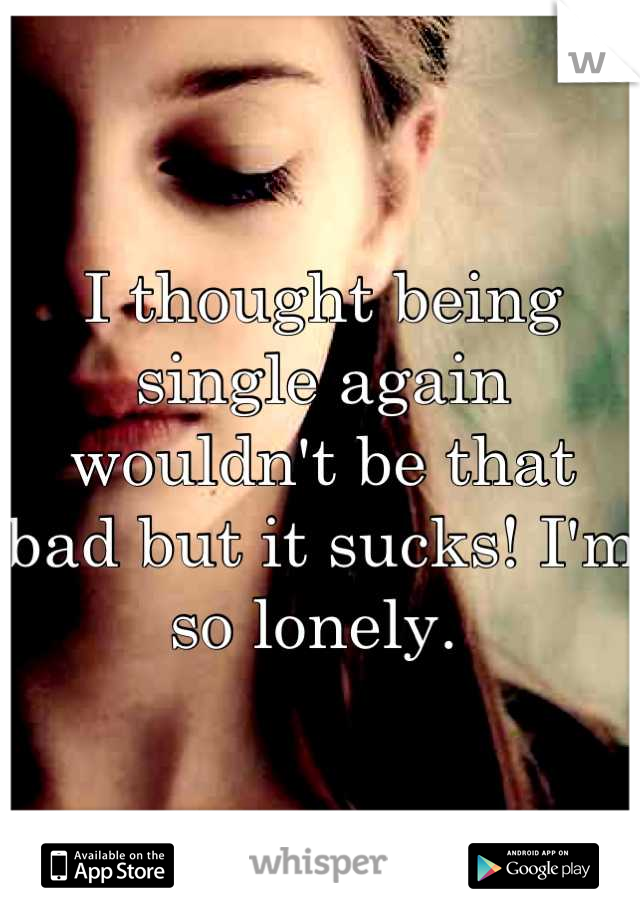 I thought being single again wouldn't be that bad but it sucks! I'm so lonely.
