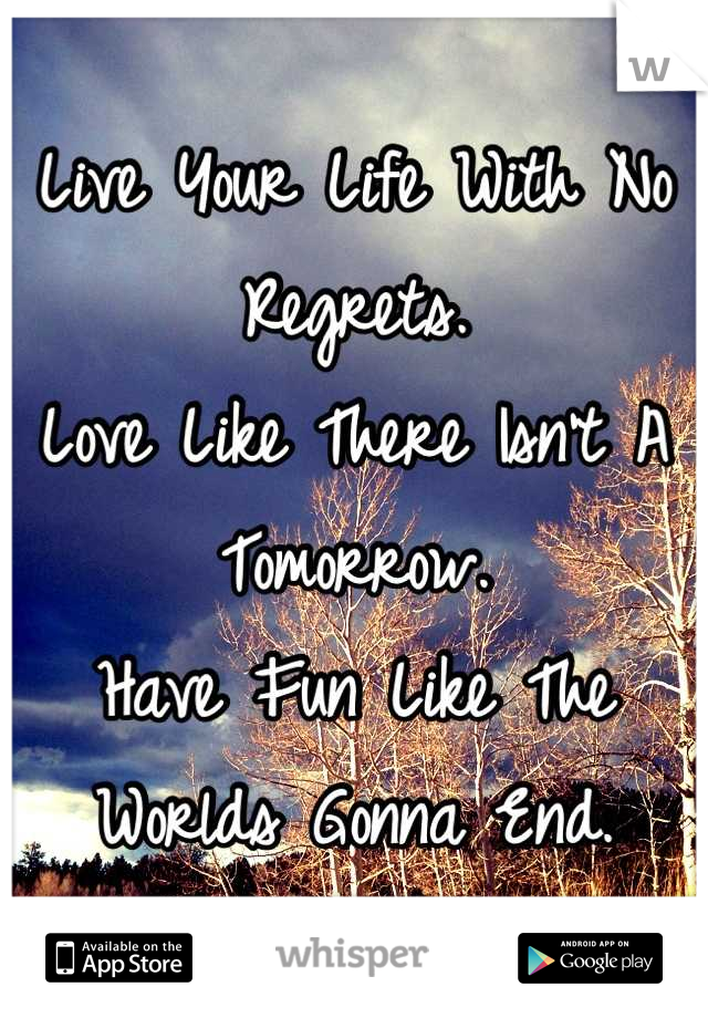 Live Your Life With No Regrets. Love Like There Isn't A Tomorrow. Have Fun Like The Worlds Gonna End.