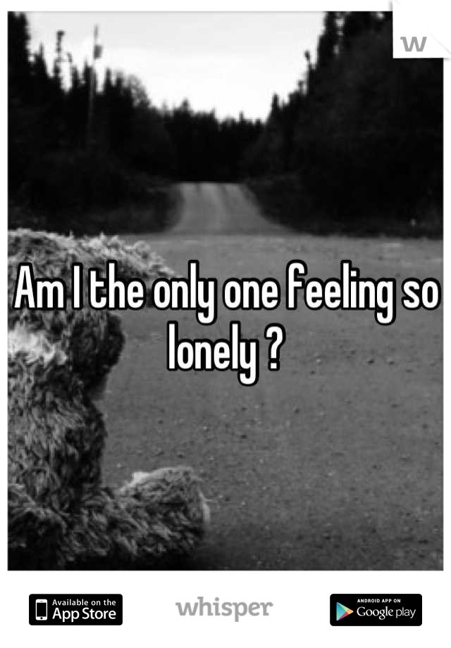 Am I the only one feeling so lonely ?