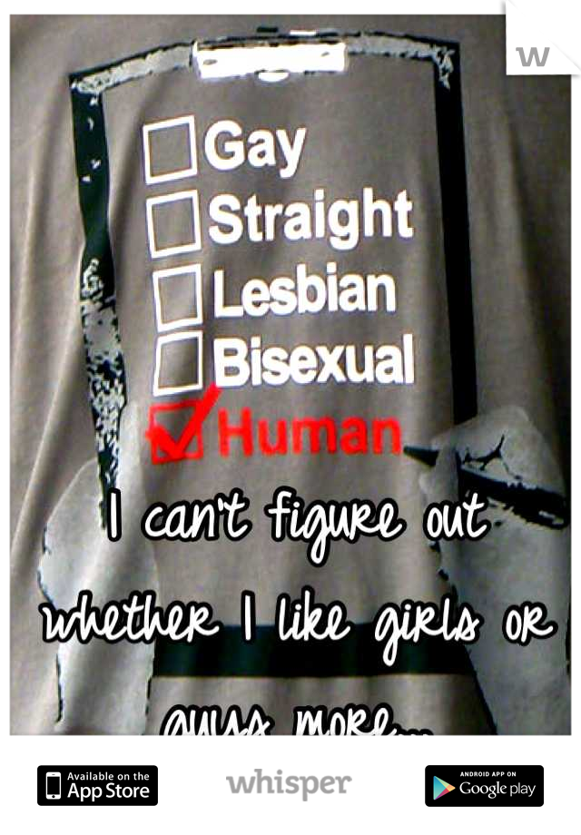 I can't figure out whether I like girls or guys more...