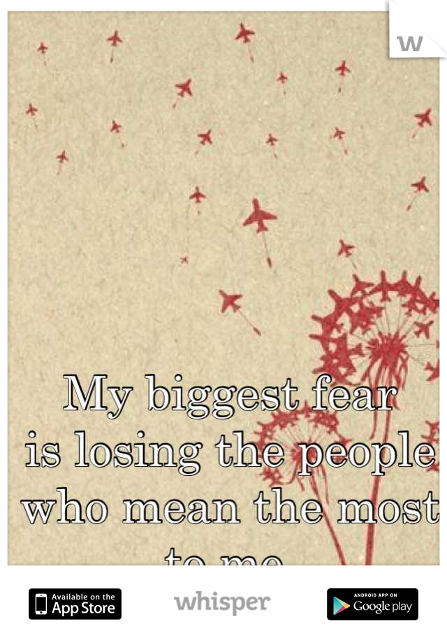 My biggest fear is losing the people who mean the most to me.