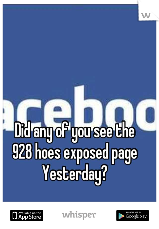 Did any of you see the  928 hoes exposed page Yesterday?