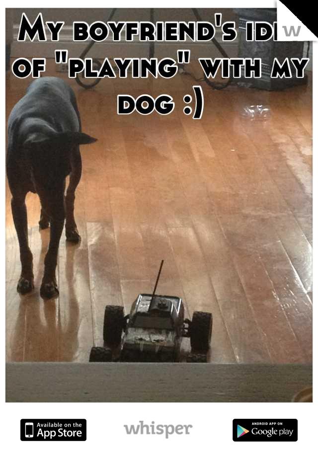 "My boyfriend's idea of ""playing"" with my dog :)"