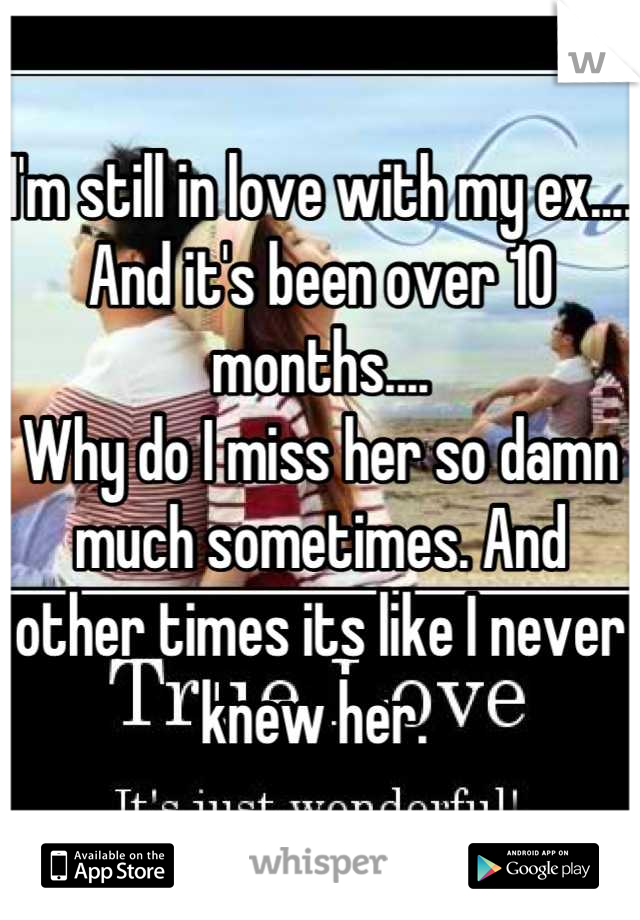 I'm still in love with my ex.... And it's been over 10 months....  Why do I miss her so damn much sometimes. And other times its like I never knew her.