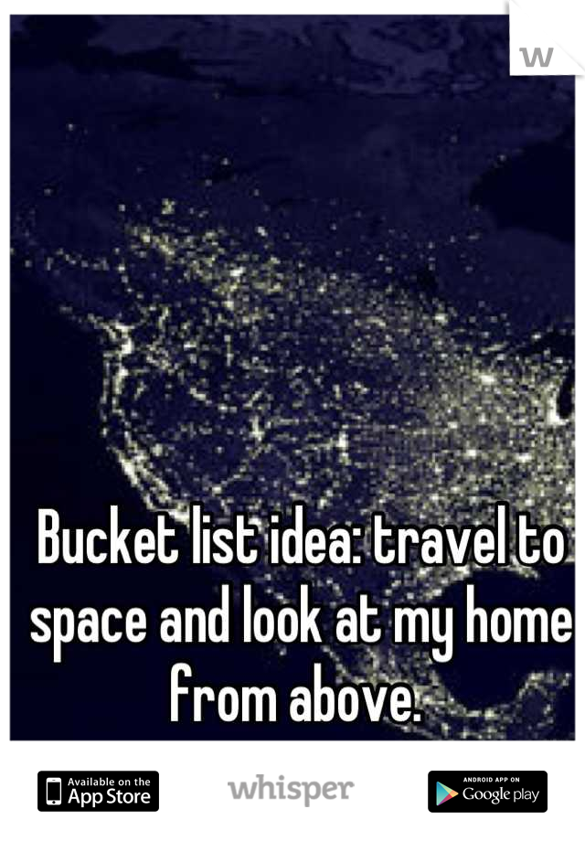 Bucket list idea: travel to space and look at my home from above.