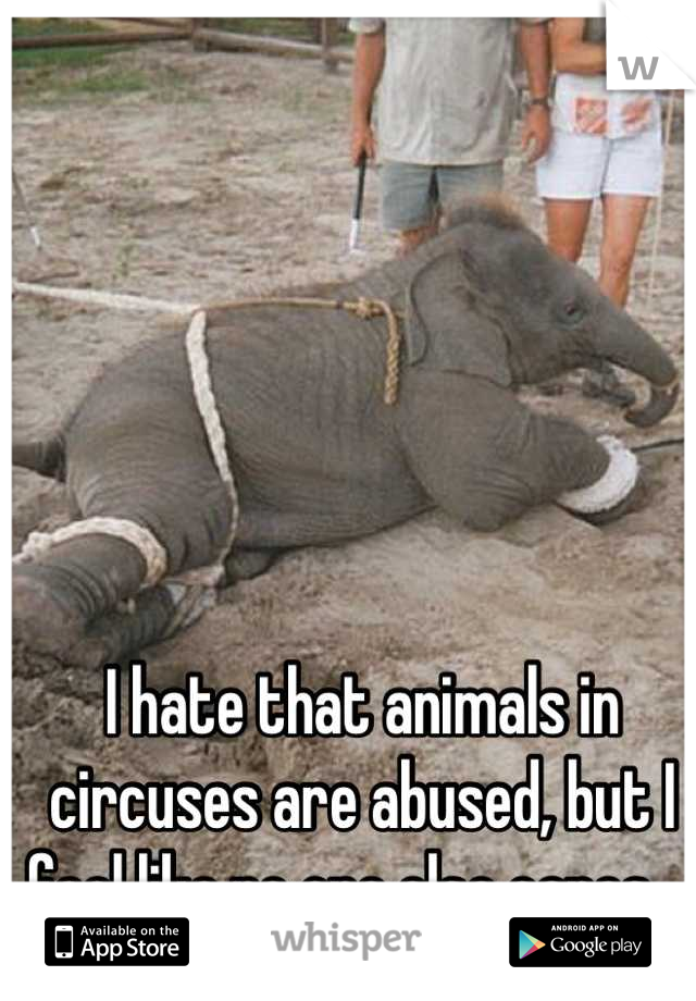 I hate that animals in circuses are abused, but I feel like no one else cares...
