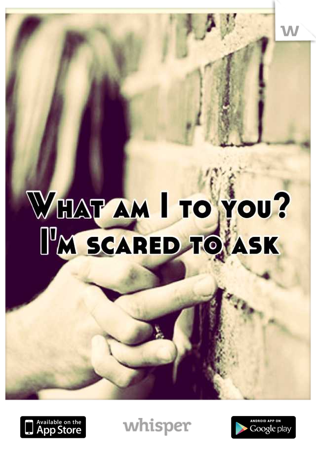 What am I to you?  I'm scared to ask
