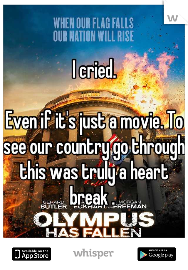 I cried.   Even if it's just a movie. To see our country go through this was truly a heart break .