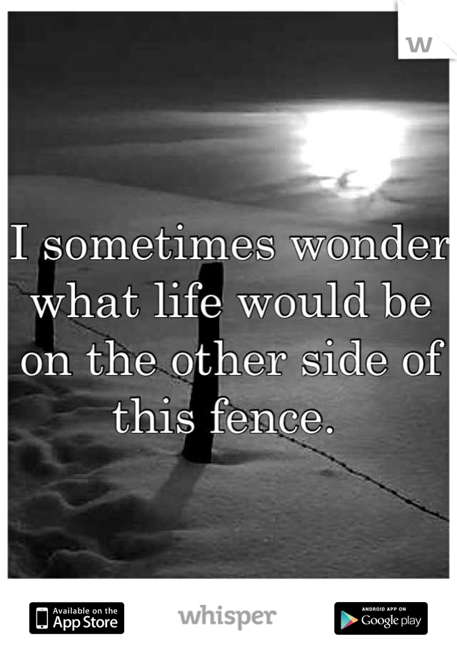 I sometimes wonder what life would be on the other side of this fence.