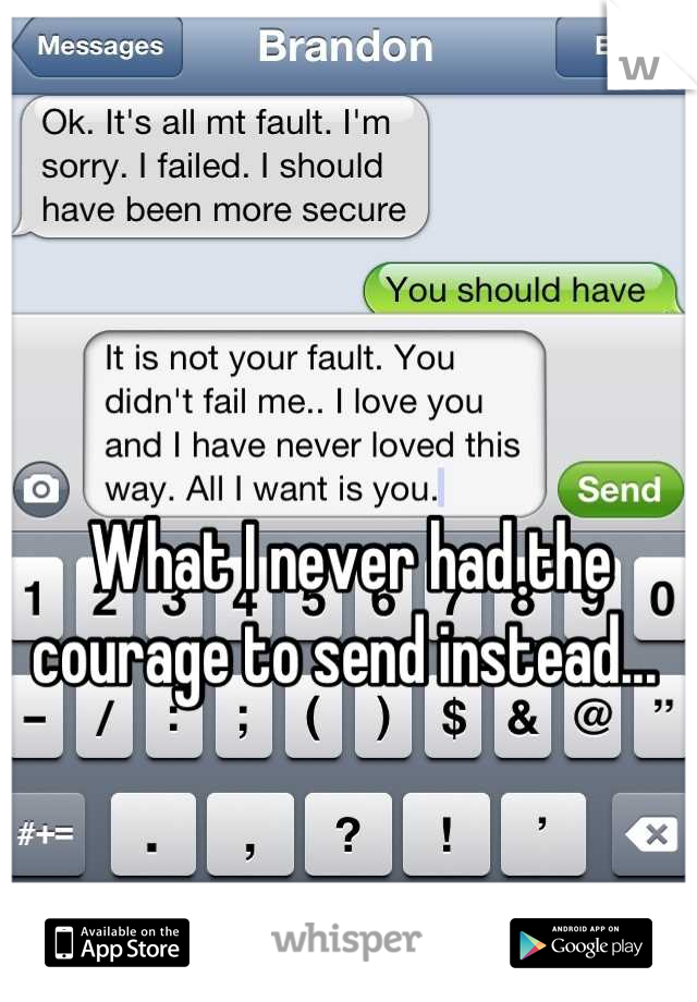 What I never had the courage to send instead...