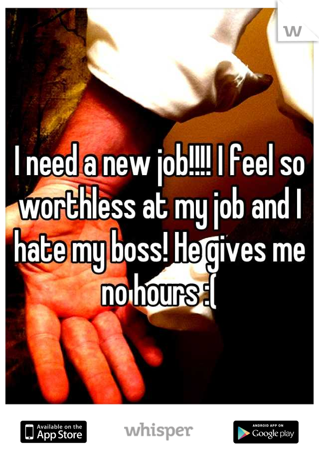 I need a new job!!!! I feel so worthless at my job and I hate my boss! He gives me no hours :(