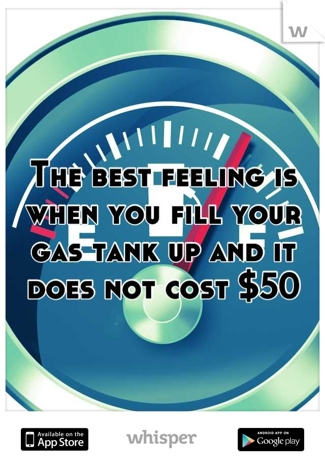 The best feeling is when you fill your gas tank up and it does not cost $50