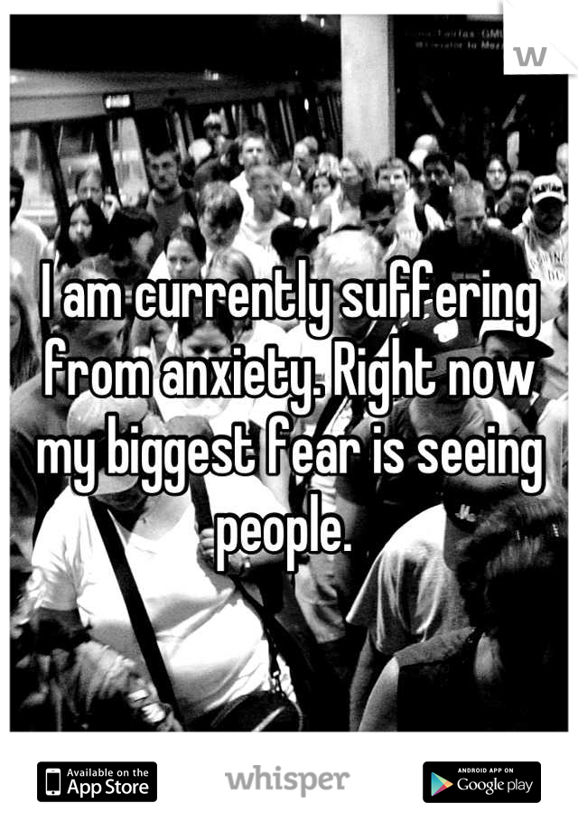 I am currently suffering from anxiety. Right now my biggest fear is seeing people.