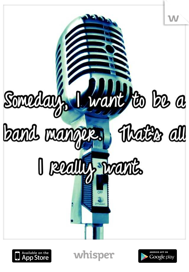 Someday, I want to be a band manger.  That's all I really want.